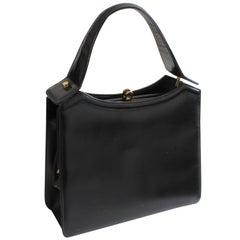 Coblentz Original Top Handle Bag Black Box Leather Structured Bag, 1960s