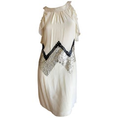 John Galliano Vintage Embellished Chevron Pattern Sequin Dress New With Tags
