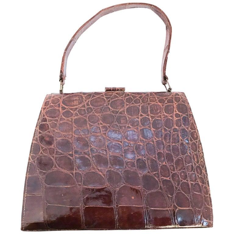 1950s Alligator Brown Structured Handbag