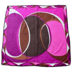 Emilio Pucci Abstract Print Scarf Shawl Silk Twill 35in Purple Brown Pink White