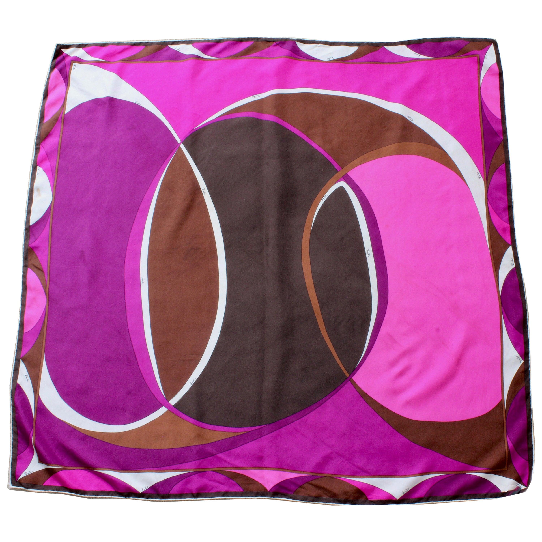 Emilio Pucci Abstract Print Scarf Shawl Silk Twill 35in Purple Brown Pink White