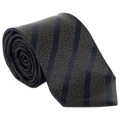 NEW Tom Ford Mens Brown Black Striped Geometric Pattern Silk Blend RTL$265 Tie