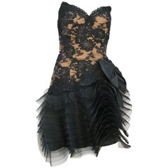 1980s Victor Costa Black Stapless Lace and Tulle Dress