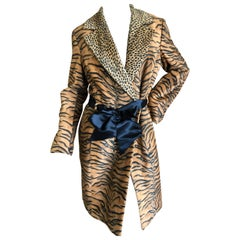 Versace Jeans Couture Vintage Plush Animal Print Trench Coat