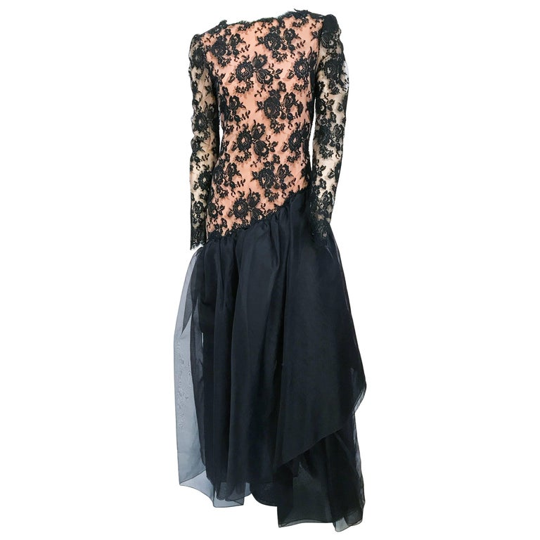 1980s Travilla Black Floral Lace Dress For Sale