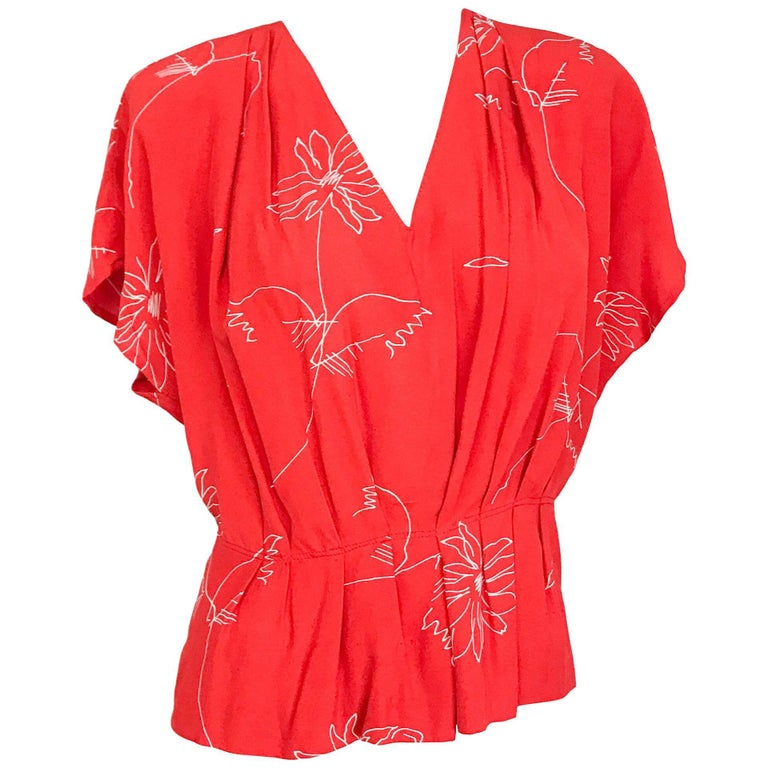 1940s Red Silk Red Daisy Blouse