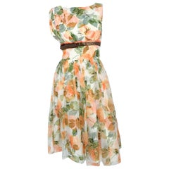 1950s Floral Pirinted Dress With Satin Accent and Bow