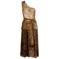 Lillie Rubin Vintage Leopard Print Silk Chiffon 3 Pc Skirt Top Ensemble, 1970s