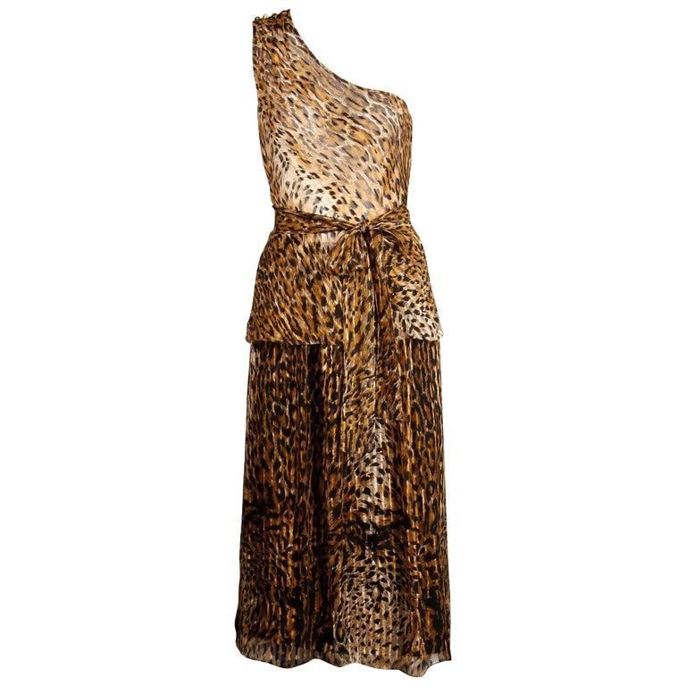 Lillie Rubin Vintage Leopard Print Silk Chiffon 3 Pc Skirt Top Ensemble, 1970s