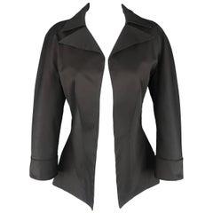 Yohji Yamamoto Black Cotton Open Front Jacket