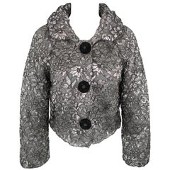 MARC JACOBS Size S Silver Lace Overlay Cashmere Cropped Jacket