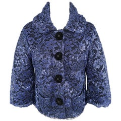 MARC JACOBS Size S Blue Metallic Lace Overlay Cashmere Jacket
