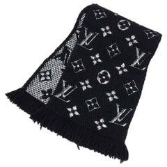 Louis Vuitton Logomania Shine Black and Silver Scarf
