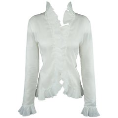 ALEXANDER MCQUEEN Size M White Cotton Ruffled Trim Blouse