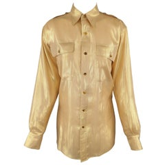 RALPH LAUREN Size 6 Gold Silk Lame' Military Blouse
