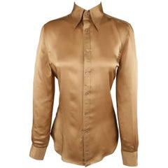 RALPH LAUREN Collection Size 8 Copper Silk Pointed Collar Blouse