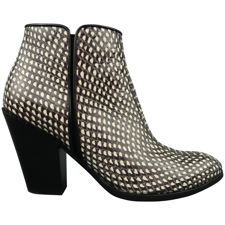 GIUSEPPE ZANOTTI Size 7.5 Black & White Snake Leather Ankle Boots For Sale