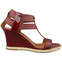 FENDI Size 8 Burgundy Patent Leather T Strap Espadrille Wedge Sandals