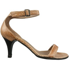 GUCCI Size 5.5 Tan Ankle Snake Skin Ankle Strap Sandals