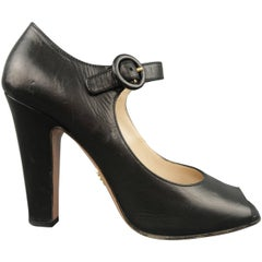 PRADA Size 7.5 Black Leather Mary Jane Peep Toe Pumps