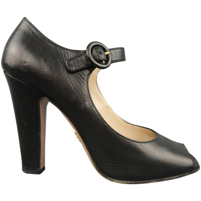6810e6c62d2 PRADA Size 7.5 Black Leather Mary Jane Peep Toe Pumps at 1stdibs