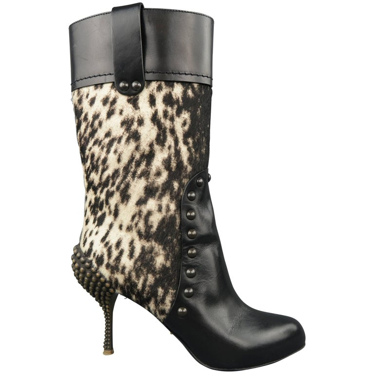SERGIO ROSSI Size 6.5 Black Ponyhair Leather Studded Heel Boots