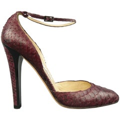 JIMMY CHOO Size 10 Plum Snake Skin Ankle Strap Pumps