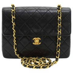 "Vintage Chanel 8"" Flap Black Quilted Leather Mini Shoulder Bag"