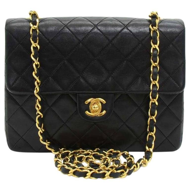 """Vintage Chanel 8"""" Flap Black Quilted Leather Mini Shoulder Bag For Sale"""