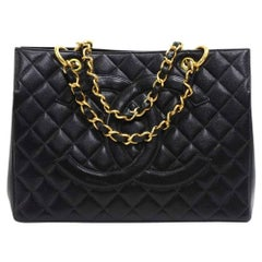 Chanel Vintage Black Quilted Caviar Leather Shopping Tote Bag