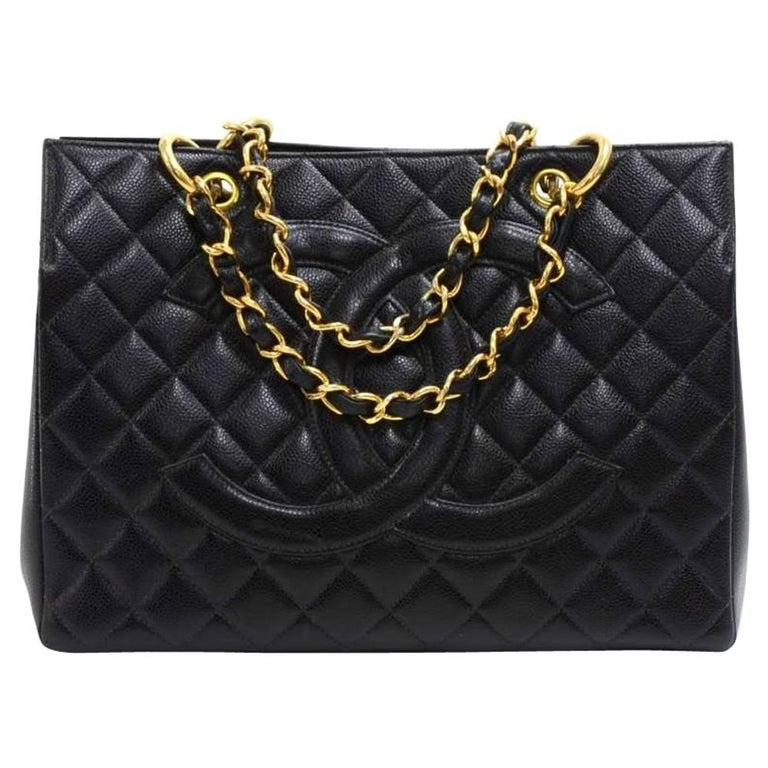 Chanel Vintage Black Quilted Caviar Leather Shopping Tote Bag  For Sale