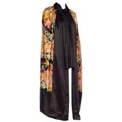 Art Deco Floral Silk Lamé Cape with Satin Borders and Neck Tie, 1920s
