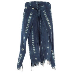 Handwoven Tie-dyed African Indigo Wrap Pants with Gold Threads