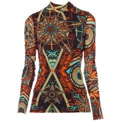 Jean Paul Gaultier Abstract Geometric Print Tie-Neck Sheer Mesh Shirt 1990s