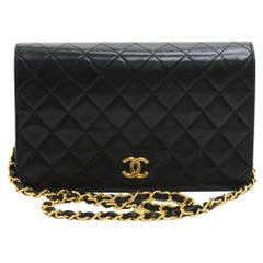 Chanel 9 Inch Classic Black Quilted Leather Shoulder Flap Bag