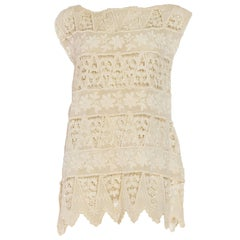Sleeveless Tunic Dress with Horizontal Lace and Flowers, 1920s