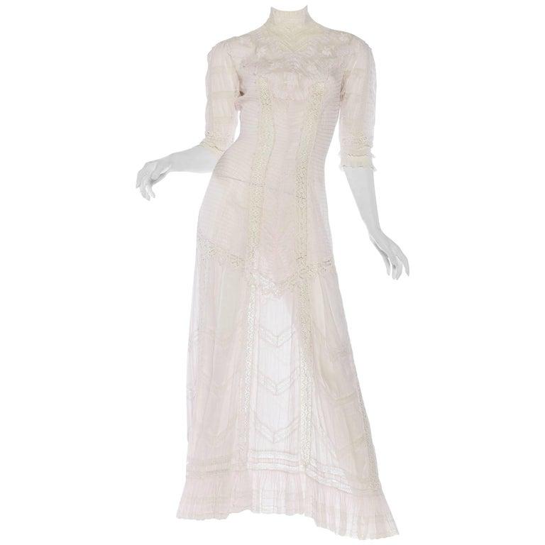 Belle Epoque Swan Neck Princess Line Victorian Organic Cotton and Lace Tea Dress