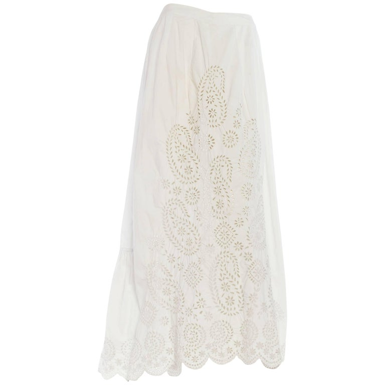 Mid Victorian Hand Embroidered Organic Cotton Eyelet Paisley Skirt