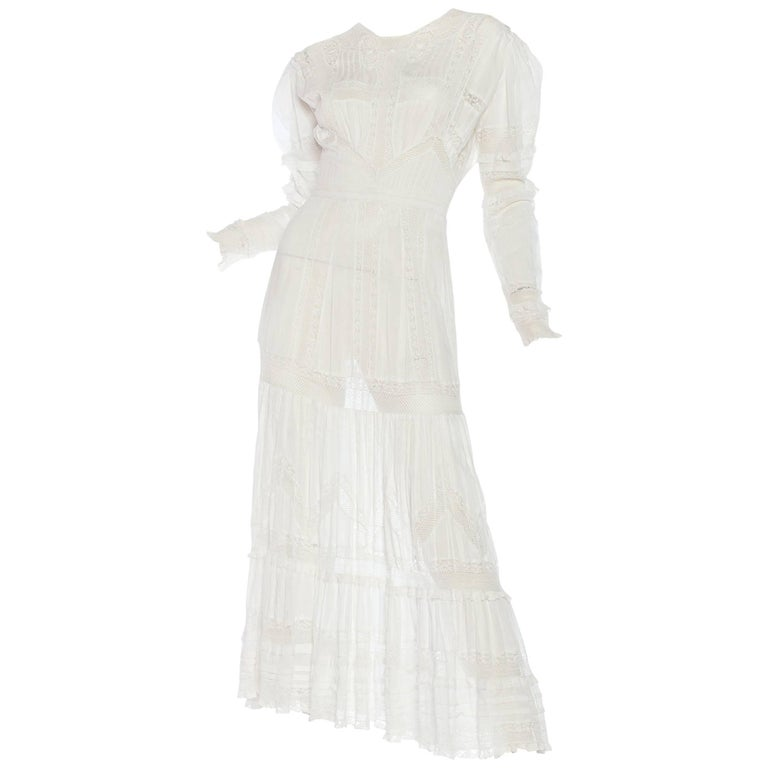 Edwardian Lace Dress With Rose Crochet and Strips of Lace