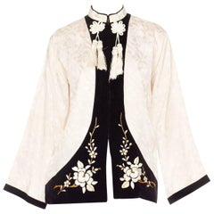 1940s Embroidered Satin and Velvet Chinese Jacket with Tassels
