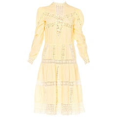 1970s Victorian Style Linen Dress with Handmade Lace Details