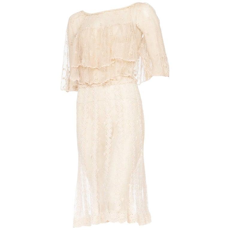 1980s Hand Crocheted Boho Short Sleeve Net Cotton Dress