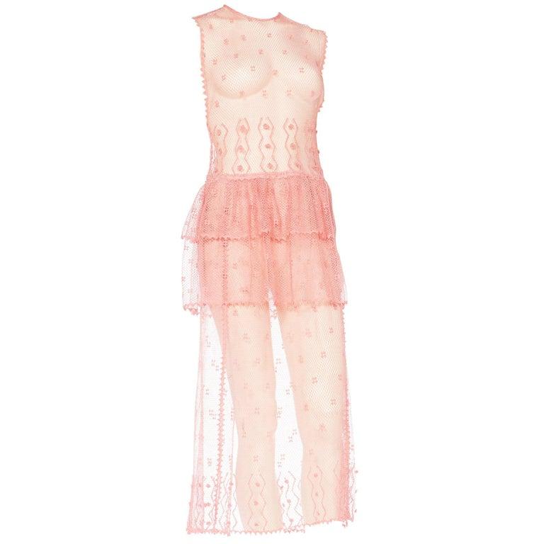 Sheer Pink Hand Crochet Cotton Net Dress, 1980s