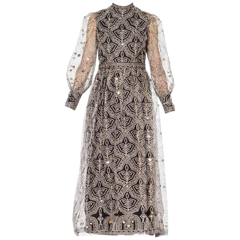 Mollie Parnis Metallic Lurex Embroidered Net with Studded Sequins,  1960s 1970s
