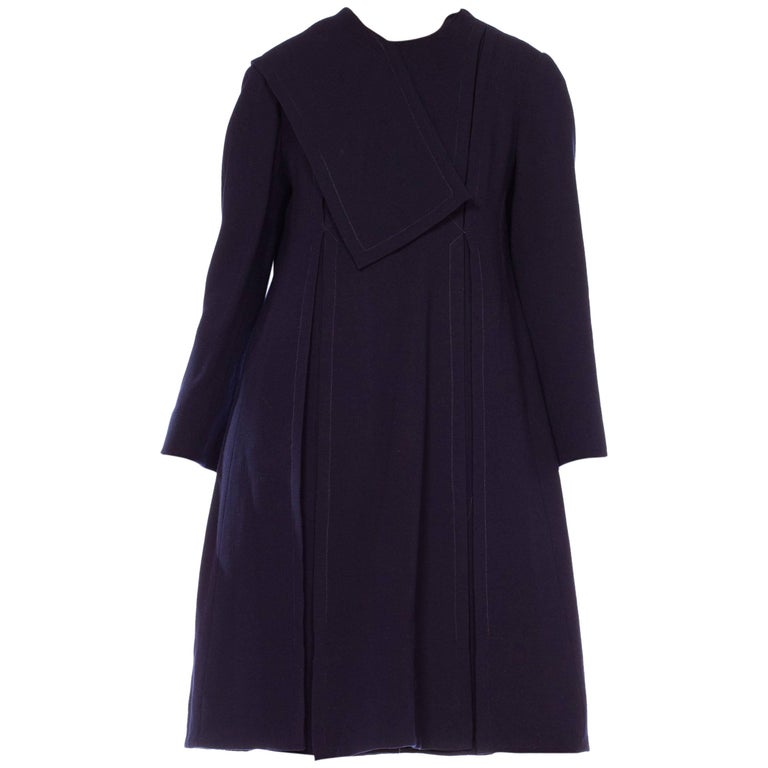 1960s Navy Blue Mod Geoffrey Beene Long Sleeved Navy Dress