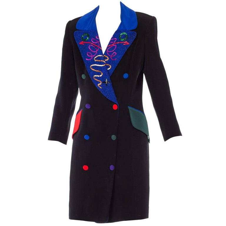Fabrice Beaded Blazer Working Girl Dress, 1980s  For Sale