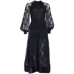 James Galanos Sheer Metallic Mod Lace Dress, 1960s