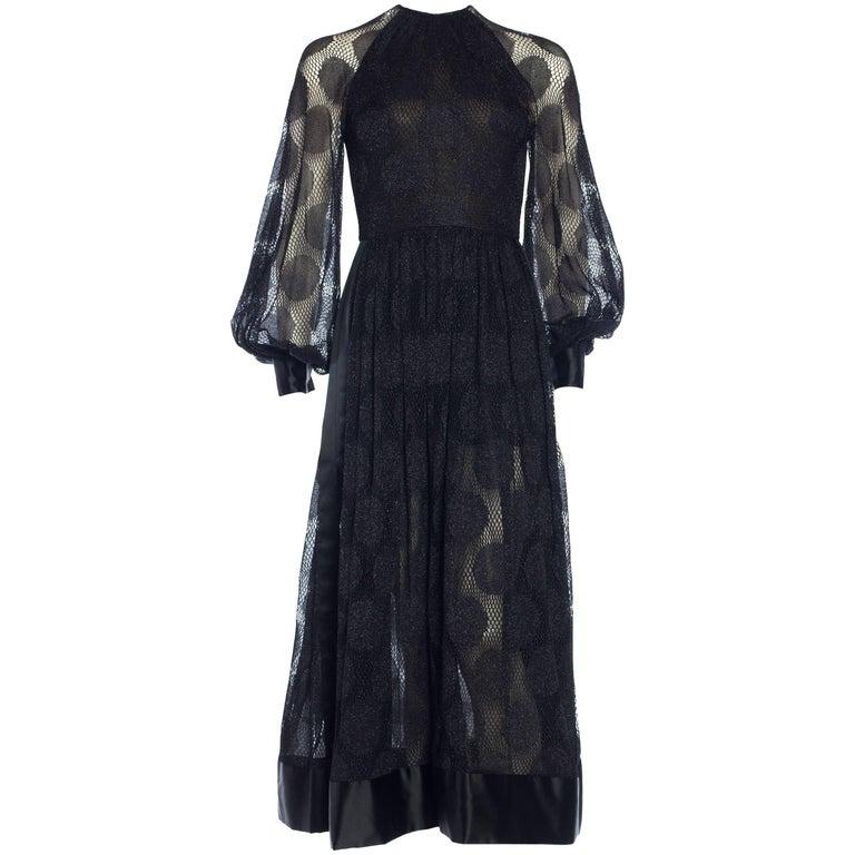James Galanos Sheer Metallic Mod Lace Dress, 1960s  For Sale