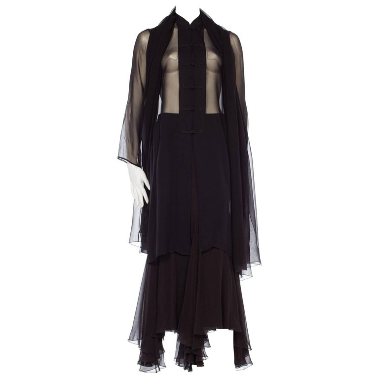 Giorgio Armani Silk Chiffon Sheer Black Mandarin Tunic and Skirt Ensemble