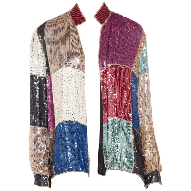 Beaded Sequin Silk Jacket, 1980s